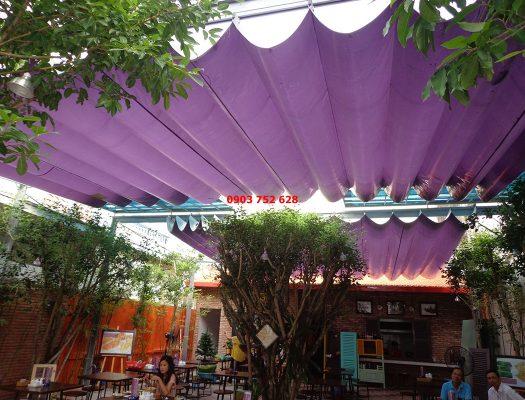 Chuyên thiết kế thi công mái Xếp lượn sóng Quán Cafe, mái bạt kéo mái hiên che quán cà phê TPHCM , Bình Dương, Biên Hòa
